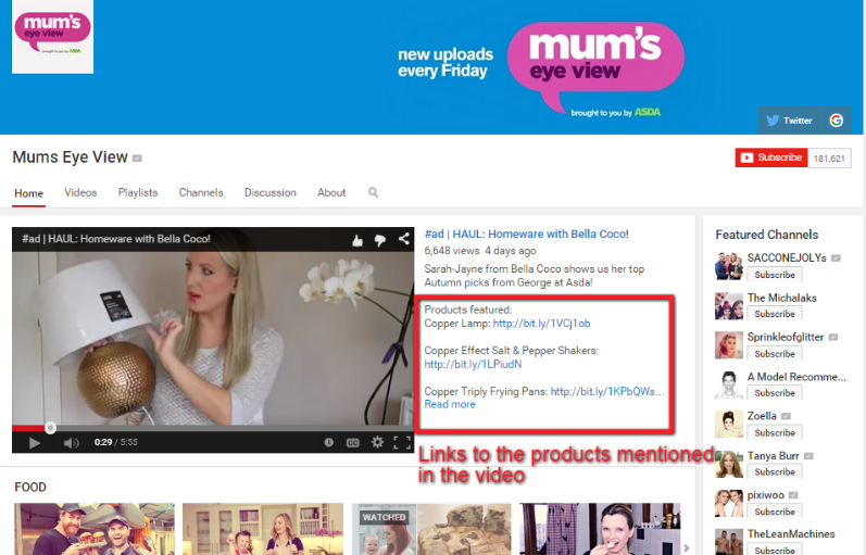 Asda Mums Eye View Uses Product Links In Video Description