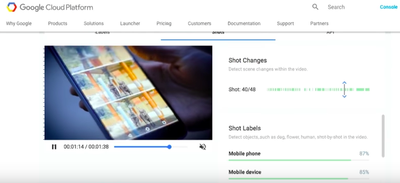Shot change detection - Google video intelligence