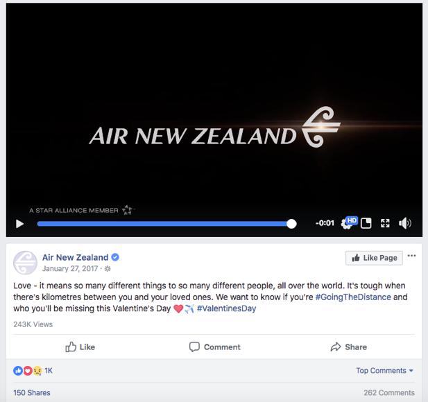 Air New Zealand Valentine's Day Marketing