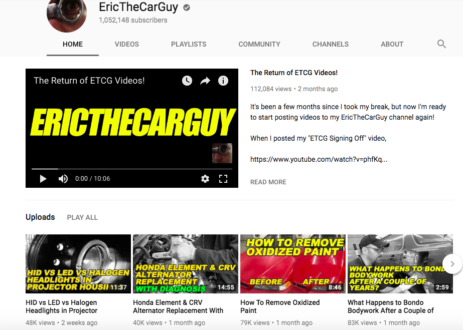 Eric Car Guy Video Channel