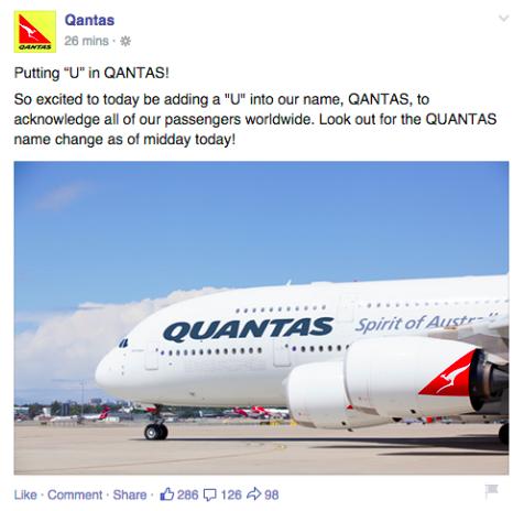 Qantas April Fool's Day