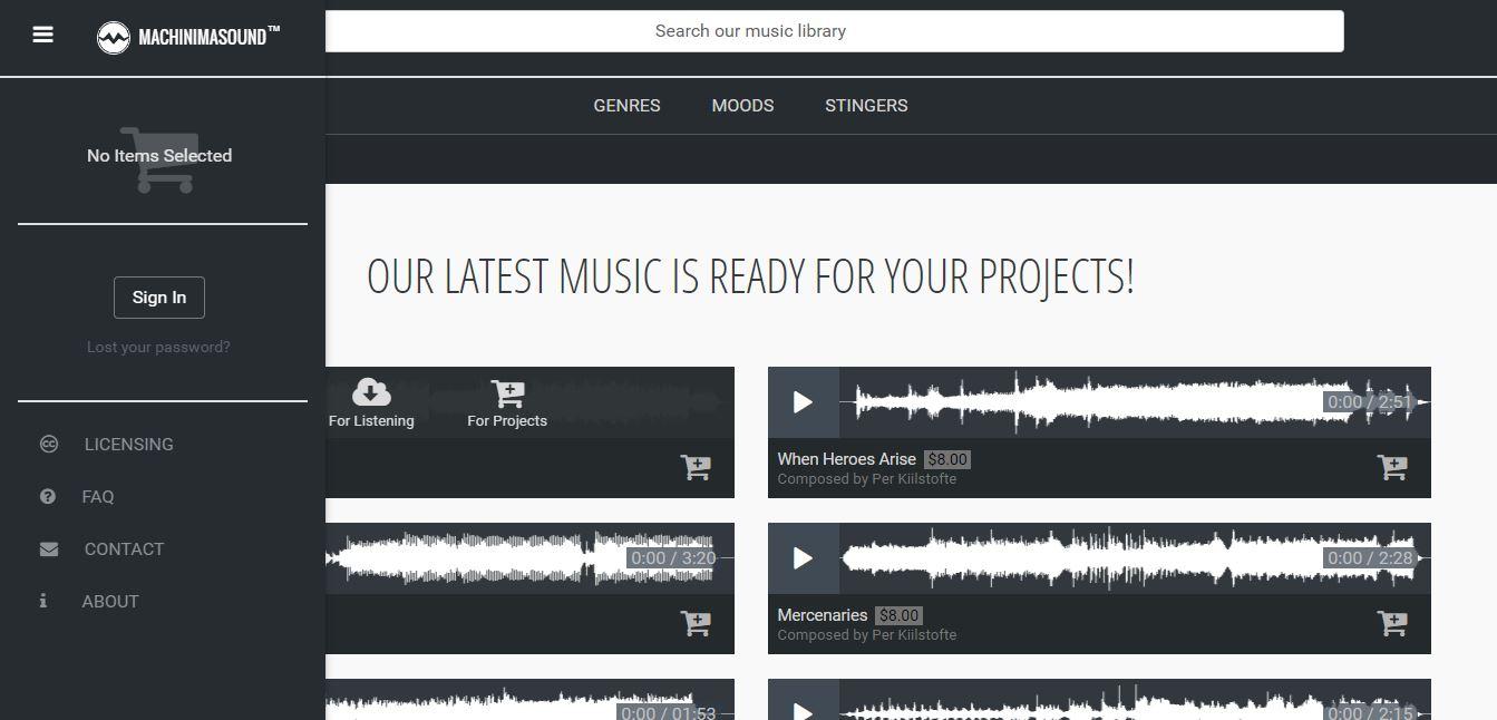 Machinima Music Library